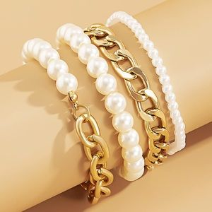 LAST ONE Gold Chain Layered Pearls Bracelets